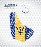 Χάρτης των Μπαρμπάντος με σχεδιαζόμενο το χέρι χάρτη μανδρών σκίτσων μέσα επίσης corel σύρετε το διάνυσμα απεικόνισης ελεύθερη απεικόνιση δικαιώματος