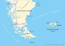 Χάρτης των Νήσων Φώκλαντ Policikal διανυσματική απεικόνιση
