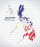 Χάρτης των Φιλιππινών με σχεδιαζόμενο το χέρι χάρτη μανδρών σκίτσων μέσα επίσης corel σύρετε το διάνυσμα απεικόνισης απεικόνιση αποθεμάτων