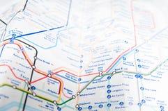 Χάρτης υπογείων του Λονδίνου Στοκ Εικόνες