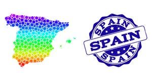 Χάρτης φάσματος σημείων της σφραγίδας γραμματοσήμων της Ισπανίας και Grunge απεικόνιση αποθεμάτων