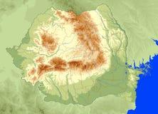 χάρτης φυσική Ρουμανία Στοκ Φωτογραφία