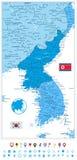 Χάρτης χερσονήσων της Κορέας στα χρώματα του μπλε και επίπεδου εικονιδίου ναυσιπλοΐας Στοκ φωτογραφία με δικαίωμα ελεύθερης χρήσης