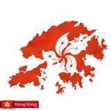Χάρτης Χονγκ Κονγκ με την κυματίζοντας σημαία της χώρας Απεικόνιση αποθεμάτων