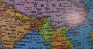 Χάρτης χωρών της Κίνας στη σφαίρα απόθεμα βίντεο