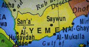 Χάρτης χωρών της Υεμένης στη σφαίρα απόθεμα βίντεο