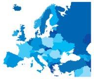 Χάρτης χώρας χρώματος της Ευρώπης Στοκ Εικόνες