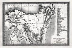 1835 χάρτης ψαρονιών των ταξιδιών και των στρατοπεδεύσεων του Israelites από την Αίγυπτο σε Canaan Στοκ Φωτογραφίες