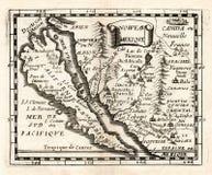 1663 χάρτης Duval του ισπανικών Νέου Μεξικό και του νησιού Καλιφόρνιας Στοκ Φωτογραφία