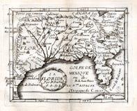 1663 χάρτης Duval των νότιων Ηνωμένων Πολιτειών Στοκ Φωτογραφία