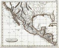 1804 χάρτης Pinkerton του αποικιακού Μεξικού και της ισπανικής Αμερικής Στοκ Φωτογραφίες