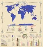 Χάρτης Warld σχεδίων μανδρών Infographics Στοκ Φωτογραφίες