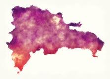 Χάρτης watercolor Δομινικανής Δημοκρατίας μπροστά από ένα άσπρο υπόβαθρο απεικόνιση αποθεμάτων