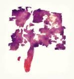 Χάρτης watercolor πόλεων Νέων Μεξικό του Αλμπικέρκη μπροστά από ένα άσπρο β Στοκ Εικόνες