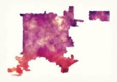 Χάρτης watercolor πόλεων του Ντένβερ Κολοράντο μπροστά από ένα άσπρο backgrou Στοκ φωτογραφία με δικαίωμα ελεύθερης χρήσης