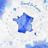 Χάρτης watercolor της Γαλλίας στα μπλε χρώματα Στοκ Φωτογραφίες