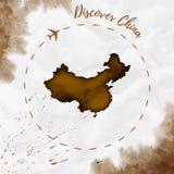 Χάρτης watercolor της Κίνας στα χρώματα σεπιών ελεύθερη απεικόνιση δικαιώματος