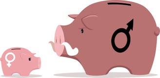 Χάσμα γένους στο εισόδημα διανυσματική απεικόνιση