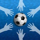 Χέρια ανθρώπων μαζί για την αθλητική εκδήλωση ποδοσφαίρου Στοκ Εικόνα
