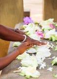 Χέρια ανθρώπων που παίρνουν τα λουλούδια στη λάρνακα σε Anuradhapura, Σρι Λάνκα Στοκ Φωτογραφία
