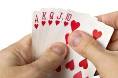 Χέρια ατόμων με τις κάρτες πέρα από το λευκό Στοκ φωτογραφίες με δικαίωμα ελεύθερης χρήσης