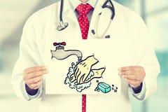 Χέρια γιατρών που κρατούν την άσπρη κάρτα με το πλύσιμο το σημάδι χεριών σας Στοκ Εικόνα