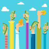 Χέρια γυναικών με τα χρήματα διανυσματική απεικόνιση