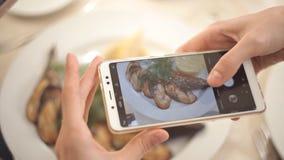 Χέρια γυναικών που παίρνουν τις φωτογραφίες των τροφίμων γευμάτων από το smartphone closeup φιλμ μικρού μήκους