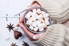 Χέρια γυναικών ` s που κρατούν μια μάνδρα και ένα φλυτζάνι του κακάου ή καυτή σοκολάτα με marshmallows Στοκ Φωτογραφίες