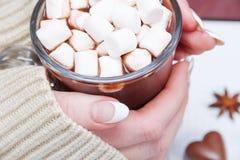 Χέρια γυναικών ` s που κρατούν μια μάνδρα και ένα φλυτζάνι του κακάου ή καυτή σοκολάτα με marshmallows Στοκ Εικόνες