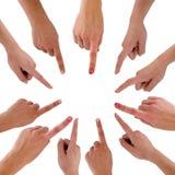 χέρια δάχτυλων κύκλων Στοκ Φωτογραφία