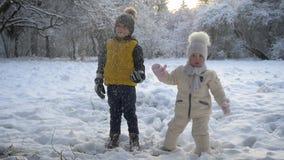 Χέρια εκμετάλλευσης αγοριών και κοριτσιών που προσέχουν το χιόνι από το δέντρο απόθεμα βίντεο