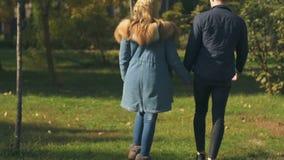 Χέρια εκμετάλλευσης ζευγών σπουδαστών, που περπατούν στο πάρκο μαζί, ξένοιαστη αγάπη στη νεολαία απόθεμα βίντεο