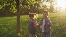 Χέρια εκμετάλλευσης λίγων ευτυχών αγοριών και κοριτσιών και τρέξιμο στη χλόη στο ηλιοβασίλεμα απόθεμα βίντεο