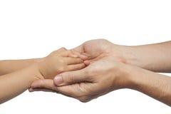 Χέρια εκμετάλλευσης πατέρων και γιων στο άσπρο υπόβαθρο Στοκ φωτογραφίες με δικαίωμα ελεύθερης χρήσης