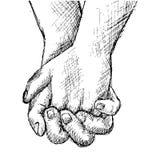 Χέρια εκμετάλλευσης σκίτσων χεριών Στοκ Εικόνες