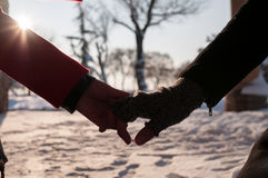 χέρια ζευγών που κρατούν νέα Στοκ Εικόνα