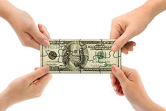 Χέρια και γρίφος χρημάτων Στοκ Φωτογραφίες