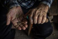 Χέρια και νομίσματα Στοκ εικόνα με δικαίωμα ελεύθερης χρήσης