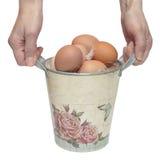 Χέρια με έναν κάδο και τα αυγά Στοκ εικόνα με δικαίωμα ελεύθερης χρήσης