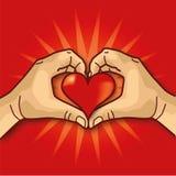 Χέρια με μια καρδιά Στοκ Εικόνα