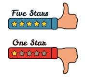 Χέρια με πέντε και ένα αστέρια που εκτιμούν τη διανυσματική απεικόνιση ανατροφοδότησης Στοκ φωτογραφίες με δικαίωμα ελεύθερης χρήσης