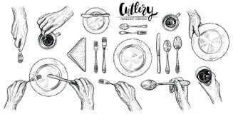 Χέρια με τα μαχαιροπήρουνα, διανυσματικές απεικονίσεις γραμμών Τοπ άποψη σχετικά με τον πίνακα που θέτει με τους δειπνώντας ανθρώ Στοκ φωτογραφία με δικαίωμα ελεύθερης χρήσης