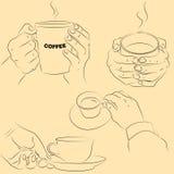 Χέρια με τα φλυτζάνια Στοκ εικόνες με δικαίωμα ελεύθερης χρήσης