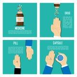 Χέρια με τα χάπια επάνω, που ανατρέπουν τα χάπια από το μπουκάλι στο υπόβαθρο Σωρός των χαπιών στο υπόβαθρο Στοκ Εικόνες