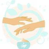 Χέρια με την απεικόνιση κρέμας Στοκ Φωτογραφία