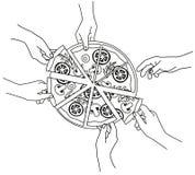 Χέρια με την πίτσα Διανυσματική απεικόνιση