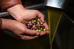 Χέρια με τις ελιές και την έκχυση πετρελαίου Στοκ εικόνες με δικαίωμα ελεύθερης χρήσης