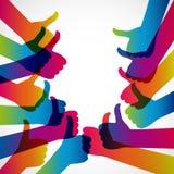 Χέρια με τον αντίχειρα επάνω, όπως το κοινωνικό υπόβαθρο μέσων, δίκτυο Ιστού Στοκ Εικόνα