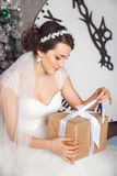 Χέρια με το κιβώτιο δώρων στο γαμήλιο εορτασμό Πορτρέτα στούντιο της όμορφης νύφης με το δώρο Δώρο εκμετάλλευσης νυφών Χριστούγεν στοκ εικόνες με δικαίωμα ελεύθερης χρήσης
